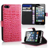 Lapinette - Etui Portefeuille Crocodile Pour Apple Iphone 5 - 5s - Rose