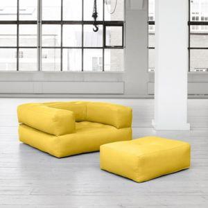 inside 75 fauteuil cube 3 en 1 futon jaune couchage 90 190 25cm pas cher achat vente. Black Bedroom Furniture Sets. Home Design Ideas