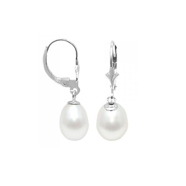 Blue Pearls - Boucles d Oreilles Perles de Culture Blanches et Argent 925 -  Bps 68ce7a60235