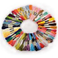 Générique - 50 échevettes de Fil pour broderie point de croix tricotage corchet multicolores