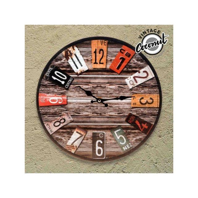 vintage coconut horloge murale antique pas cher achat. Black Bedroom Furniture Sets. Home Design Ideas