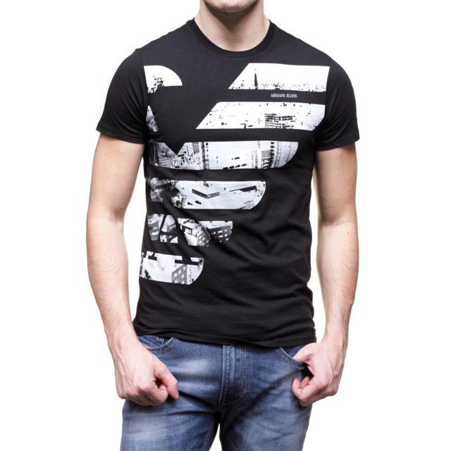 Armani - T Shirt Jeans B6h79 Ul Black - pas cher Achat   Vente Tee ... db0824b3950