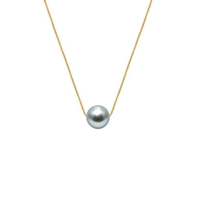 Blue Pearls Collier Femme Ras du Cou et Chaine Venitienne Or jaune 750/1000 et Perle de Culture d'eau douce de Tahiti Noire - Bps 02