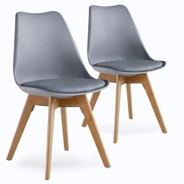 home design international - lot de 2 chaises scandinaves grises