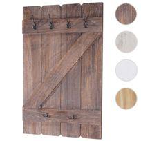 Mendler - Tablette murale, porte-tasse Aprilia, étagère / vestiaire / planche à crochets, 91x60cm ~ marron shabby