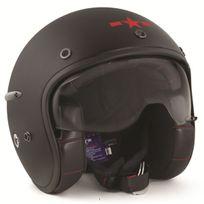 Harisson - casque jet moto scooter fibre noir rouge mat - Ca103 L