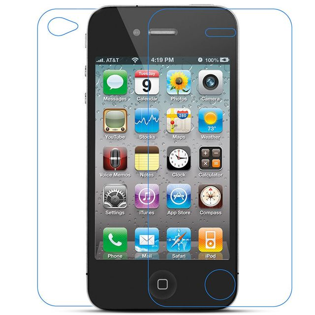 Cabling - Protecteur d'écran de verre trempé pour Apple iPhone 4 4S Front+Back