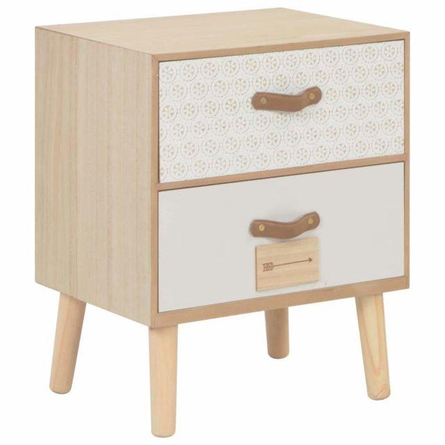 Table De Nuit Chevet Commode Armoire Meuble Chambre Avec 2 Tiroirs Bois De Pin Massif 1402174