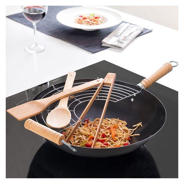Totalcadeau Wok à couvercle et accessoires - Grille de cuisson vapeur Cuillère, spatule et pinces en bois
