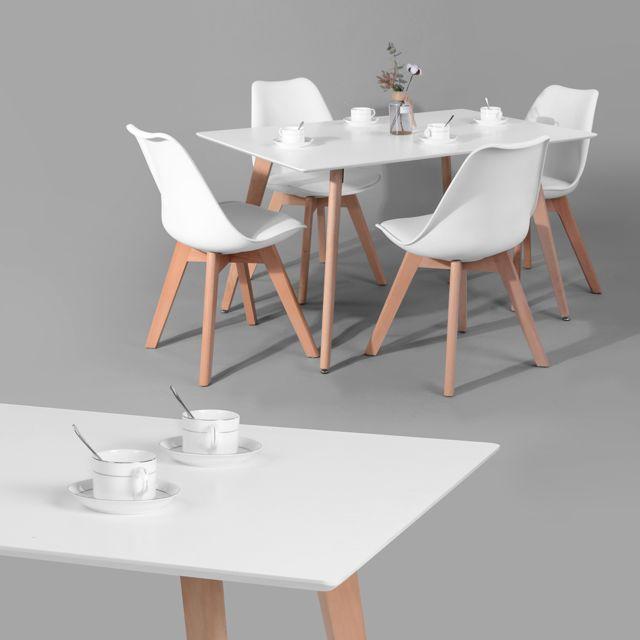 Table à manger rect 120cm blanche