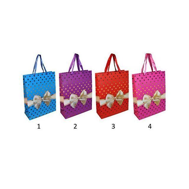 sans - lot de 5 sac cadeau en papier cartonné noeud 33x25cm modèle 2