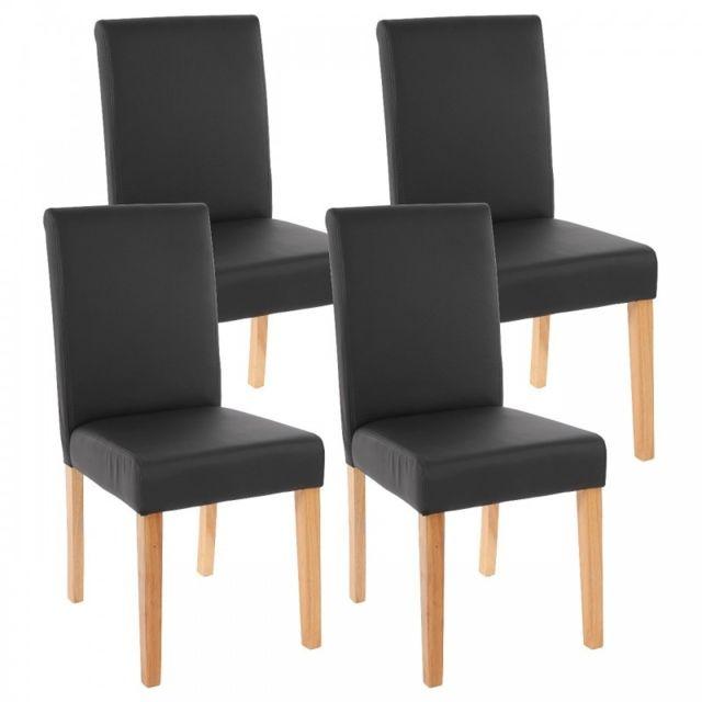 Decoshop26 lot de 4 chaises de salle manger simili - Chaise cuir noir salle manger ...