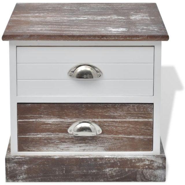 Table de nuit chevet commode armoire meuble chambre 2 pcs marron et blanc  1402142