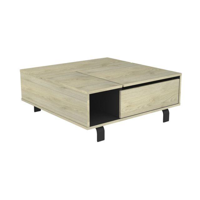 Tousmesmeubles Table basse carrée relevable Chêne clair/Noir mat - Forest