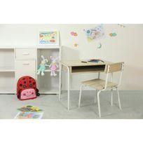 Finlandek - Chambre - Finlandek Bureau enfant + chaise Apina classique en métal - laqué blanc et décor sonoma - L 60 cm