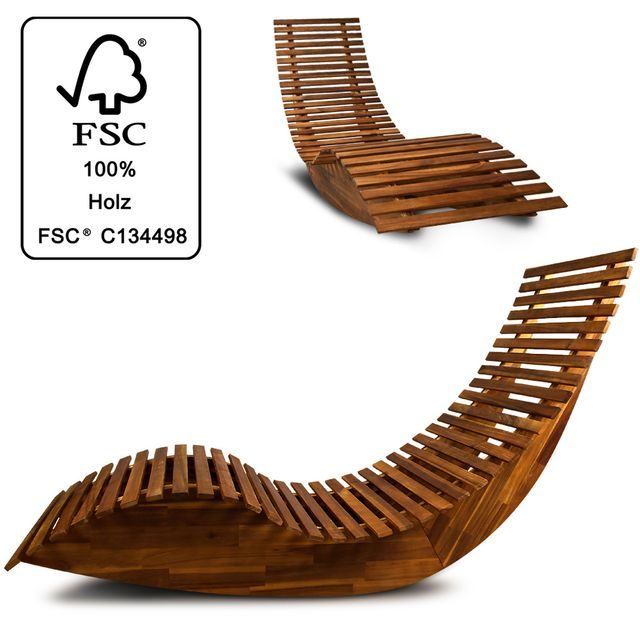 Rocambolesk - Superbe Chaise longue à bascule en bois - Transat ...