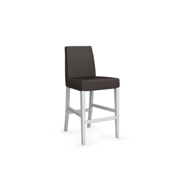 Chaise de bar Latina piétement hêtre laqué blanc assise tissu blanc