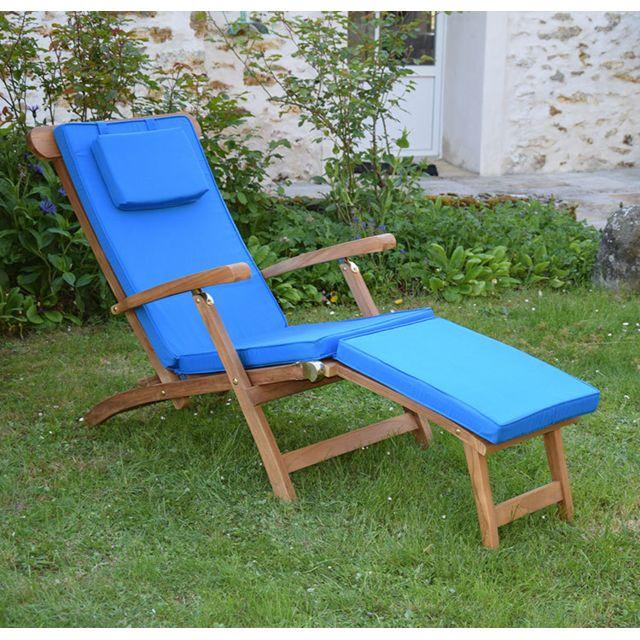 teck 39 attitude matelas bleu pour chaise longue pas cher achat vente coussins galettes de. Black Bedroom Furniture Sets. Home Design Ideas
