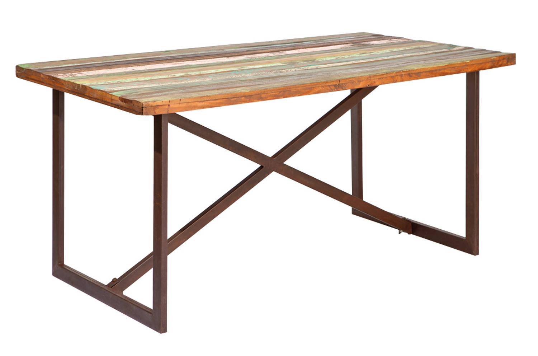 Table de salle à manger 160 cm en bois massif style industriel