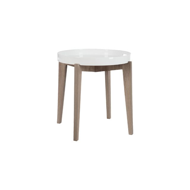Table d'appoint ronde en bois naturel diamètre 50cm