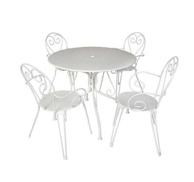 HYBA - Fauteuil de jardin - Acier - Blanc + Table de jardin ...