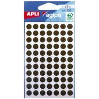Agipa - 111837 - pastille adhésif diamètre 8 mm - noir - sachet de 462