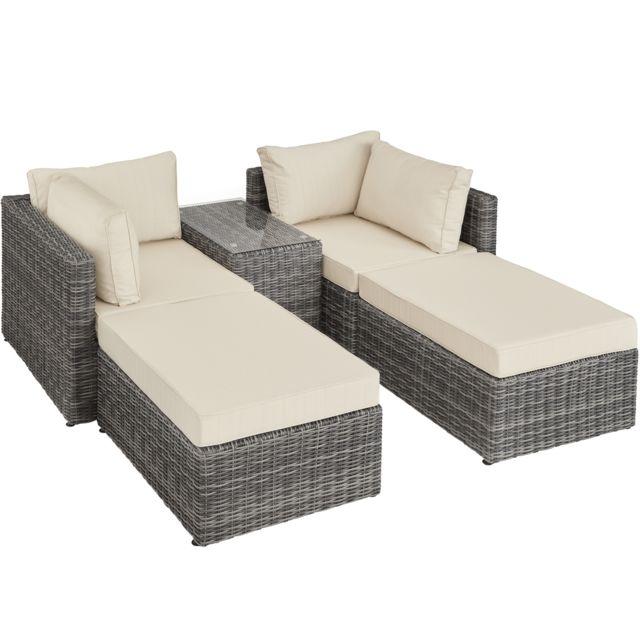 TECTAKE Canapé de jardin SAN DOMINO 4 Places modulable en Bain de soleil en Résine tressée et Aluminium Gris