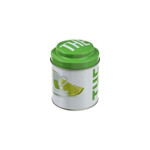 Boite ronde à thé en relief - 11,5 x 8,7 cm - Métal - Blanc