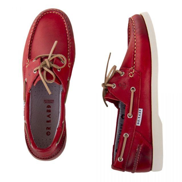 Orlando Chaussures bateau tout cuir homme Rouge 42 pas