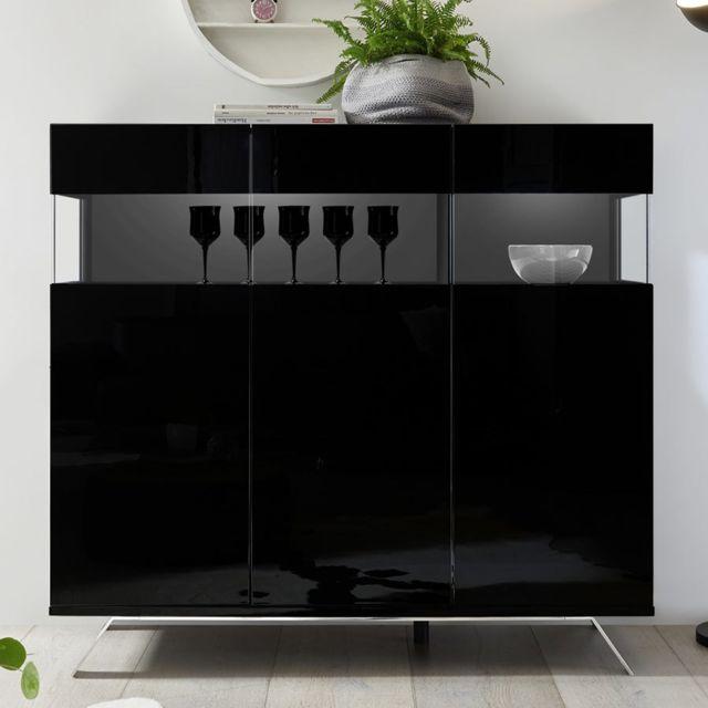 Kasalinea Buffet haut lumineux design noir laqué Palermo 6