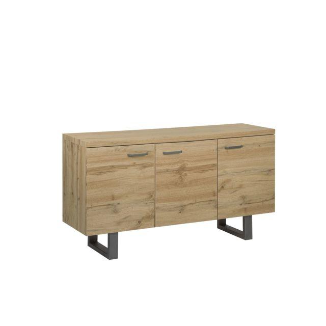 BELIANI Commode 3 portes en bois clair TIMBER - marron clair