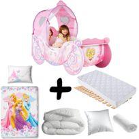 Bebe Gavroche - Pack complet Premium Lit Carrosse Legende Princesse Disney = Lit+Matelas & Parure+Couette+Oreiller