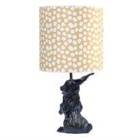 Domestic - Jeannot Lapin-lampe à poser Lapin Céramique et Abat-Jour Tissu Pois H60cm Noir - designé par Nathalie Lété