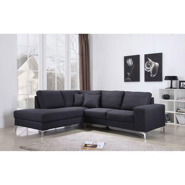 Urban Living Canapé d'angle en tissu avec piètement métal Imma - Anthracite - Gauche