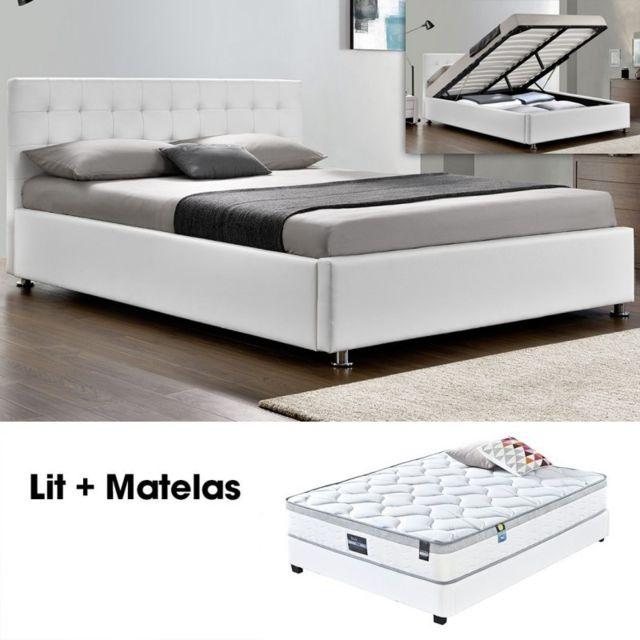 Meubler Design Lit Complet Capitole Matelas Romance 140 Blanc