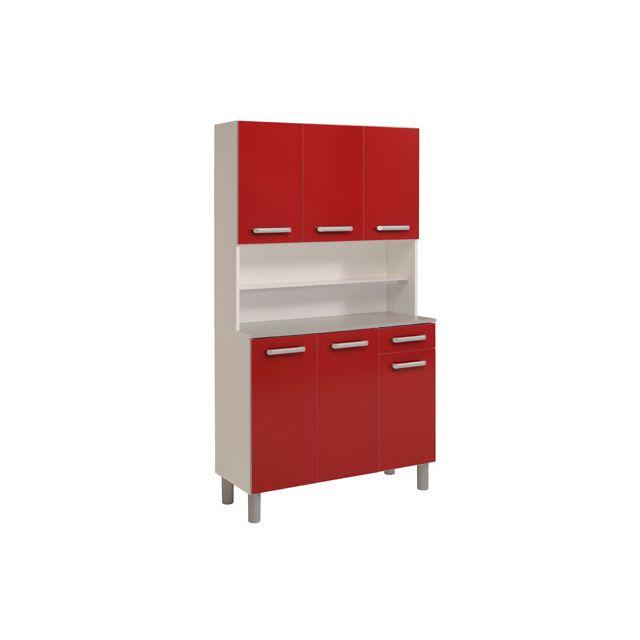 Buffet de cuisine 6 portes 101x42x184cm coloris rouge ruby