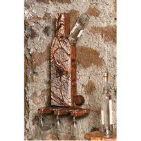 It'S Stone - Support mural 6 bouteilles en pierre et en bois - Aci-its270