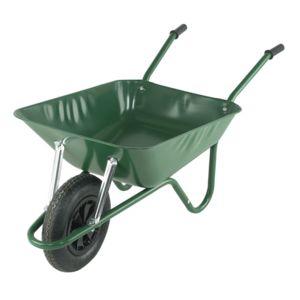 dedans dehors brouette de jardin en acier peint vert 1 roue pas cher achat vente chariots. Black Bedroom Furniture Sets. Home Design Ideas