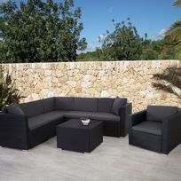 Mendler - Garniture polyrotin Rom Basic, ensemble canapé fauteuil, set lounge ~ anthracite, coussin anthracite