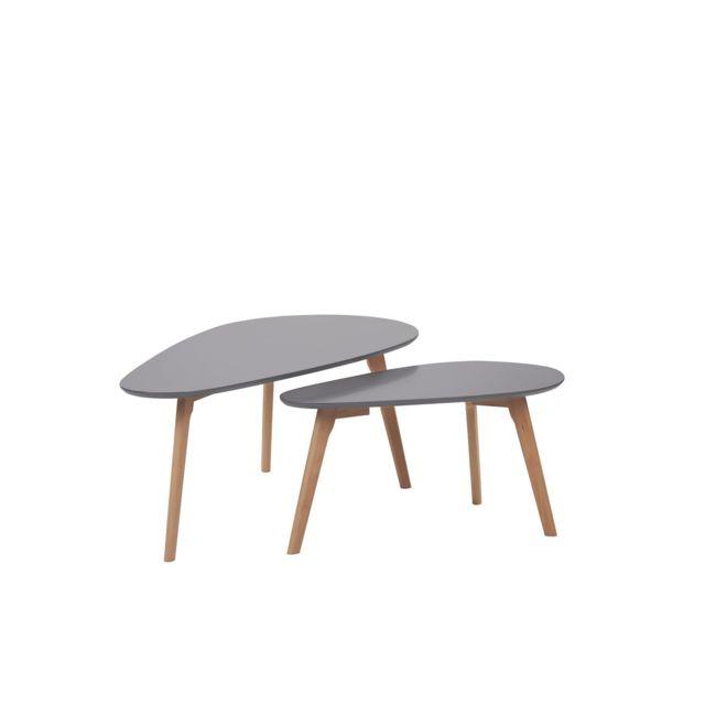 BELIANI Lot de 2 tables basses grises et bois clair FLY III - blanc