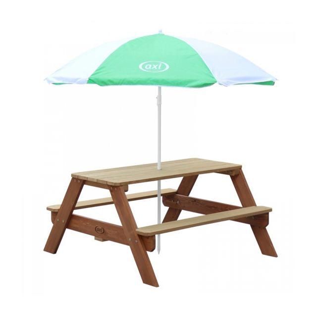 Axi Table Picnic Nick Brun avec Parasol Vert Blanc