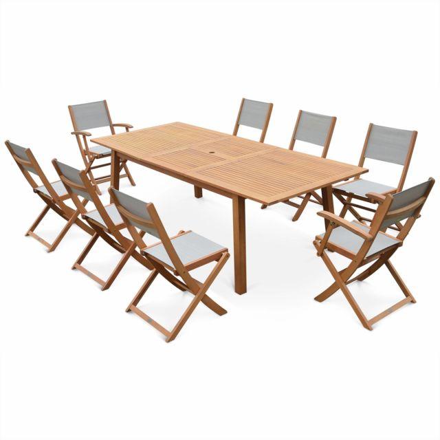 Salon de jardin en bois extensible - Almeria - Grande table 180/240cm avec  rallonge, 2 fauteuils et 6 chaises, en bois d\'Eucalyptus FSC huilé et ...