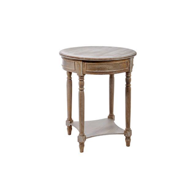 Table ronde bois naturel 60x75 cm
