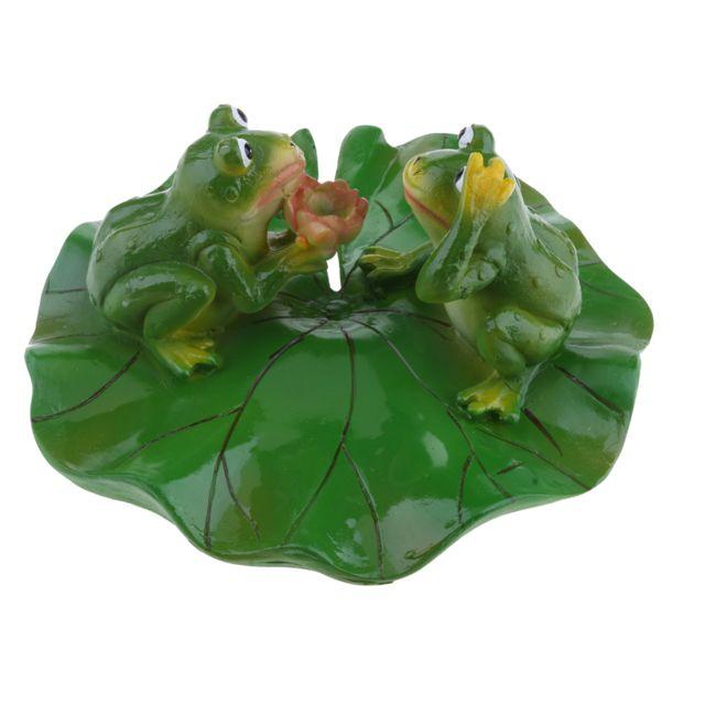 Artificiel lotus feuille grenouille eau flottant ornement étang décoration