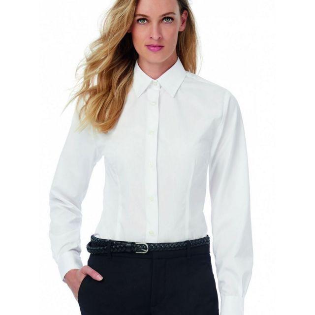 Fashion Cuir Lot de 2 Chemises manches longues popeline polyester coton Couleur - blanc, Taille Femme - 46