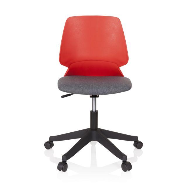 Chaise de bureau siège pivotant Sisca tissu rouge gris