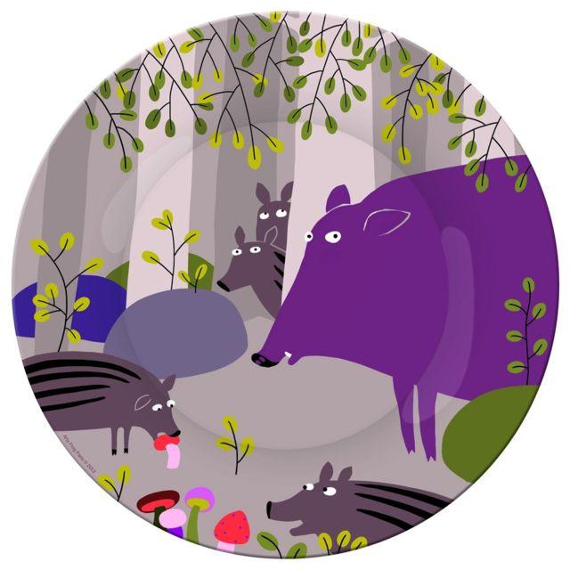 Petit Jour Paris Petite assiette Sanglier à table en forêt - Petit Jour