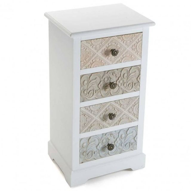 Inside 75 Commode blanche 4 tiroirs baroque Mosela