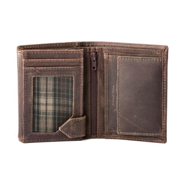 Dudu - Petit portefeuille pour homme vertical en cuir vintage avec  porte-monnaie Dudu Brun c4e68c2d650