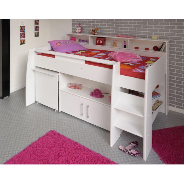 Last Meubles - Lit combiné avec bureau et rangement - 90x200cm Hypnos Blanc